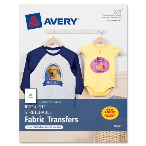Avery Personal Creations InkJet Stretchable Transfer Sheets, 5 Pack (03302)