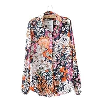 Fashionwesta®-Lady's chemise en été avec des fleurs cassé décoré (S-fleur)