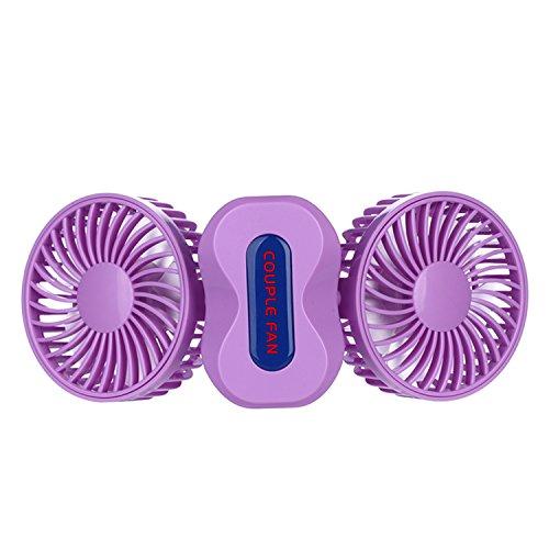 eBerry® Couples usb fan, Handheld fan, Cooling fan, Table fan Dual Head Portable USB Rechargeable Personal Fan Quiet Operation Desktop Fan with LED Light (Purple)