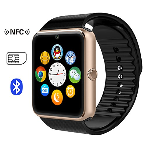 007plus GT08 Bluetooth Smart Watch Wrist Watch Phone with SIM Card Slot and NFC Smart Health Watch for Android Samsung HTC and IOS Apple iphone Smartphone-Black
