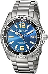 Stuhrling Original Men's 382.33116 Prestige Swiss Regatta Captain Quartz Diver Date Blue Dial Watch