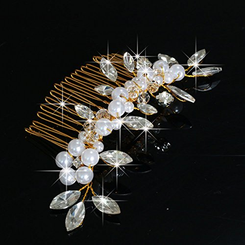 Venusvi Vintage Wedding Hair Combs with Bead and Rhinestones for Women 5