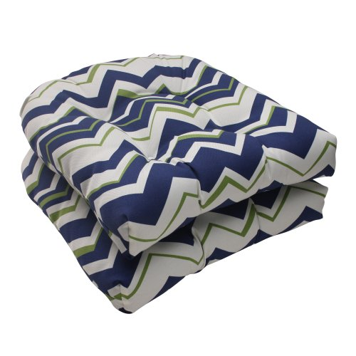 Pillow Perfect Indoor/Outdoor Tempo Wicker Seat Cushion, Navy, Set of 2 image
