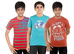 Menthol Boys Round Neck Tshirt (Pack of 3) (9-10 Years)