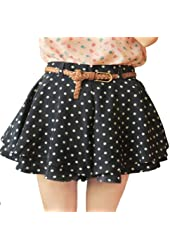 Zehui Girls Retro Pleated Polka Dot Chiffon Skirt Mini Dress Shorts w/Belt US4
