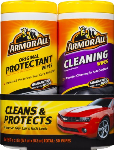 Armor All 10848 Protectant and Cleaning Wipes - 25 sheets (pack of 2) (Car Dashboard Cleaner compare prices)