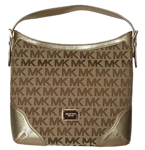 Michael Kors MK Signature Millbrook Large Shoulder Bag Handbag - Beige/ Gold