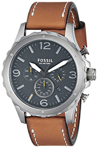 Fossil Men'S Jr1467 Nate Chronograph Leather Watch - Tan