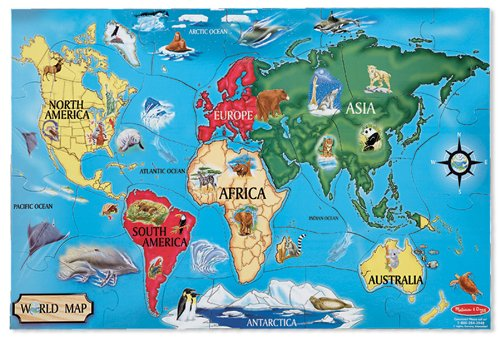 Cheap Melissa & Doug World Map Floor (33 pc) 12″ (B002ZZVVCY)