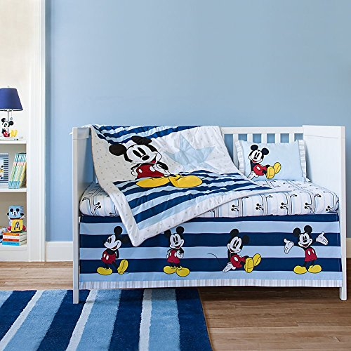 Disney Store Mickey Mouse Baby Nursery Crib Bedding Set: 4-Piece Stars & Stripes