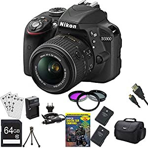 Nikon D3300 24.2 MP CMOS Digital SLR with AF-S DX NIKKOR 18-55mm f/3.5-5.6G VR II Zoom Lens (Black) BUNDLE with 64GB High Speed SDXC Card, 2 Spare Batteries, Rapid AC/DC Charger, Deluxe Filter Kit, Guide to SLR DVD Tutorial and MORE