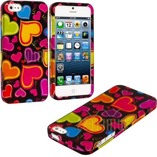 Mylife Colorful Love Hearts Series (2 Piece Snap On) Hardshell Plates Case For The Iphone 5/5S (5G) 5Th Generation Touch Phone (Clip Fitted Front And Back Solid Cover Case + Rubberized Tough Armor Skin)