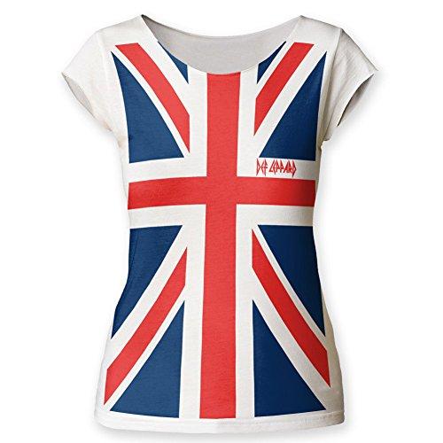 Def Leppard, motivo Union Jack, Maglietta da donna Bianco vintage X-Large