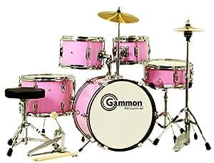 pink junior 5 piece drum set with cymbals stands sticks hardware complete musical. Black Bedroom Furniture Sets. Home Design Ideas