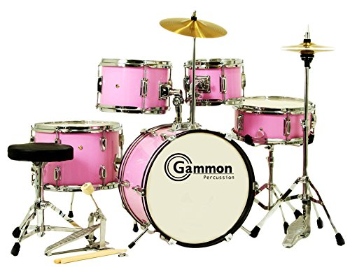 Pink Junior 5-Piece Drum Set With Cymbals Stands Sticks Hardware Complete