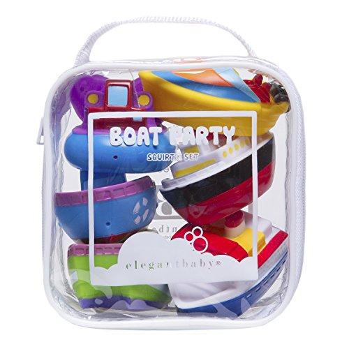 Elegant Baby Bath Time Fun Rubber Water Squirties Vinyl Zip Storage Bag, Boat Party, Set of 6