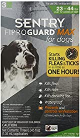 SENTRY FiproGuard Max 3 Doses Flea and Tick Squeeze-On for Dogs, 23 to 44-Pound