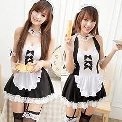 小悪魔コスプレ 可愛いカチューシャ付メイド服セット コスチューム C108 (ブラック)