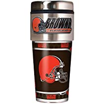 NFL Cleveland Browns Metallic Travel Tumbler, Stainless Steel and Black Vinyl, 16-Ounce
