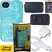 Otterbox Defender Case Eternality Collection by Monique Maloney - Celestial, Light Teal/White, 77-20407 for iPhone 4s & 4 with Car Charger, Travel Charger and Horizontal Case