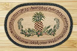 Earth Rugs 90-730 Pineapple Welcome Design Oval Rug, 20 by 30\
