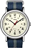 Timex Unisex T2N654 Weekender Blue and Gray Slip Thru Nylon Strap Watch