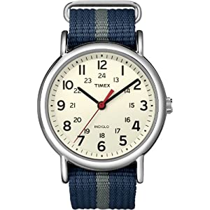 Timex Men's T2N654KW Weekender Blue and Gray Slip Through Strap Watch