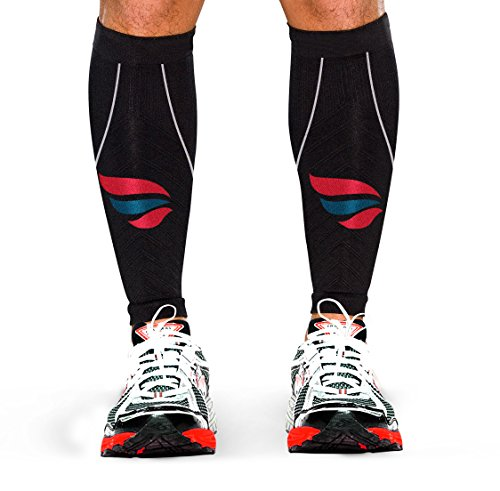 Runners Calf Compression Sleeve – Mens and Womens High Performance Athletes and Joggers Calf Guard – Shin Splint Prevention – Increase Muscular Endurance – Accelerate Recovery – Great for Running , Crossfit, Sports, Basketball, Cycling, Training, Maternity, Travel and more – 100% Money Back Guarantee