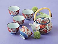 TOKYO MATCHA SELECTION - [SUPER VALUE] Arita-yaki Porcelain: SAKURA - Kyusu Tea pot & 5 tea cup Set w Box from Japan [Standard ship by EMS: with Tracking & Insurance]
