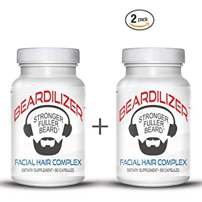 Beardilizer ® - #1 Facial Hair and Beard Growth Complex for Men - 90 Capsules Powerful Nutrients Blend - VALUE PACKS