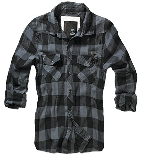 Brandit-Camicia da uomo flanella Check Shirt nero XXXXXL