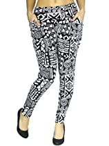 Women Stretchy Fashion Black/White Harem Pants