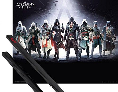 Poster + Sospensione : Assassins Creed Mini Poster (50x40 cm) Characters E Coppia Di Barre Porta Poster Nere 1art1®