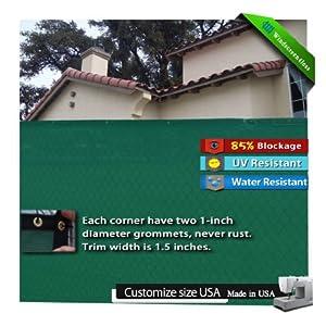 6'x50' Green Fence Windscreen & Privacy Screen & Fabric Mesh w/ Brass Grommets