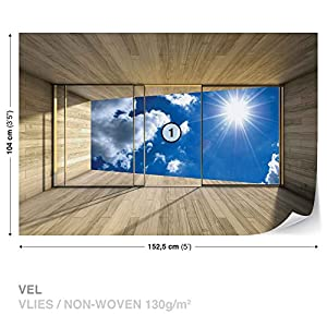Window Sky Clouds Sun Nature - Photo Wallpaper - Wall Mural - EasyInstall Paper - Giant Wall Poster - L - 152.5cm x 104cm - EasyInstall Paper - 1 Piece from Consalnet
