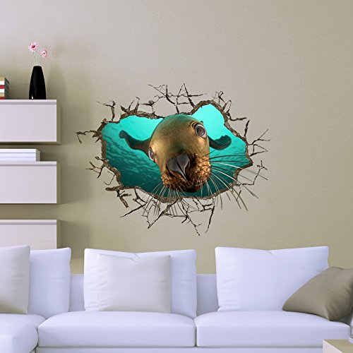 3D Sea Lion Wall Sticker