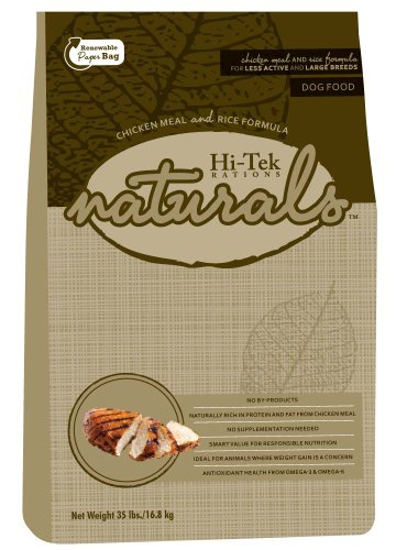 Hi-Tek Naturals Chicken Meal and Rice Formula Dry Dog Food for Less Active and Large Breeds, 35-Pound