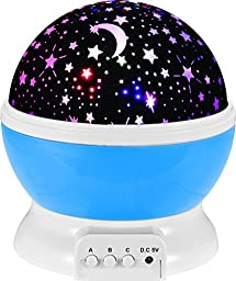 Night Lighting Lamp [ 2 Gneration, 4 LED Beads, 3 Model Light ] Romantic Rotating Cosmos Star Sky Moon Projector , Rotation Night Projection Lamp Kids Bedroom Bed Lamp for Christmas Children (Blue)