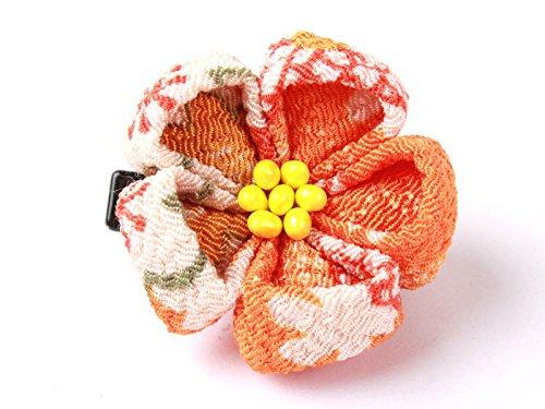 和風 梅花柄 ヘアピン 和装 髪飾り#オレンジ