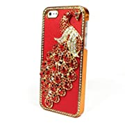 Red Bling Peacock Leather Case Cover iPhone5 5S