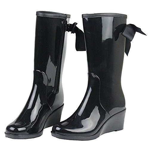 Getmorebeauty Women Mid Calf Black Belt Jelly Knot Ribbon Wedge Rain Boots 8 B(M) US (Mid Heel Jellies compare prices)