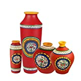 ExclusiveLane Terracotta Handpainted Vases Set Of 4