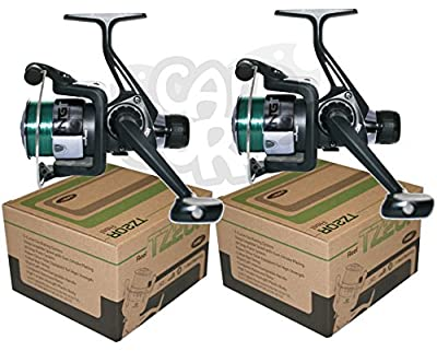 2x TR20R Black Fishing Reels Loaded with 6LB Line For Coarse Match Lake River from Carp Corner