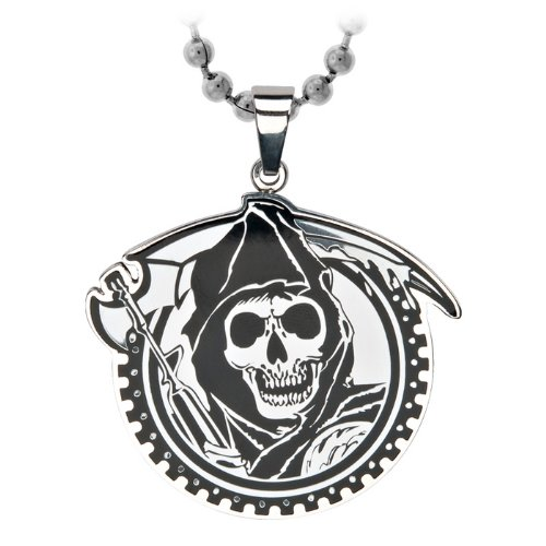 Sons of Anarchy Stainless Steel Grim Reaper Geard with Gunsickle Pendants Necklace with Ball Chain