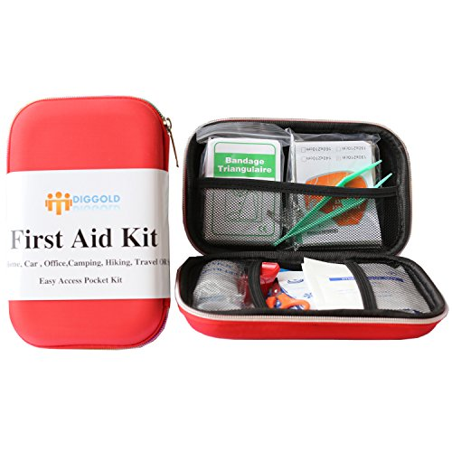 First Aid Kit Survival Box Red Cross Medical kits - 14 Items Waterproof Portable Essential Injuries & Medical Emergency equipment
