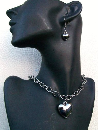 Hematite Plain Silver Finish Heart Love Earring Necklace Gift Fashion Hen Party Jewellery Set