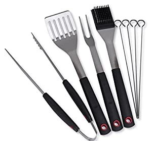 Culina® Grilling/ BBQ Tool Set. 8-pc. Stainless Steel. Soft Touch Handle by Culina