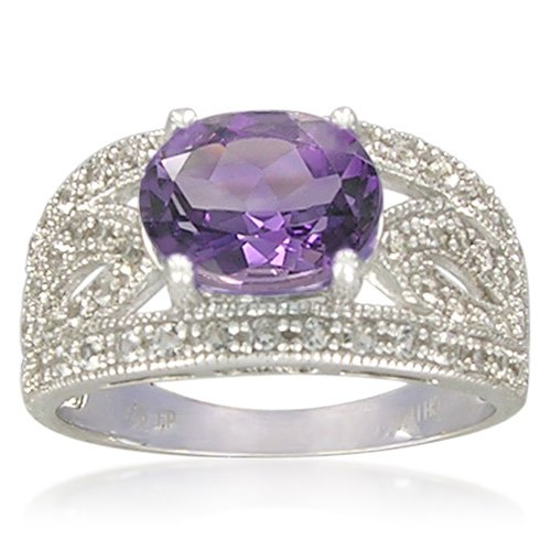 Sterling Silver 7x9mm Oval Shape Amethyst with White Topaz Accents Ring, Size 7