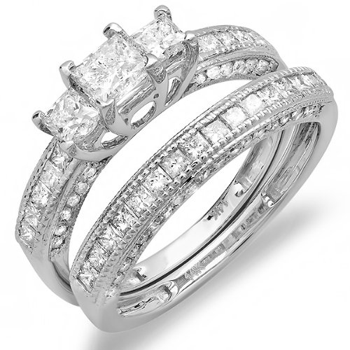 1.75 Carat (ctw) 14k White Gold Princess and Round Diamond Ladies Bridal 3 Stone Ring Engagement Matching Wedding Set