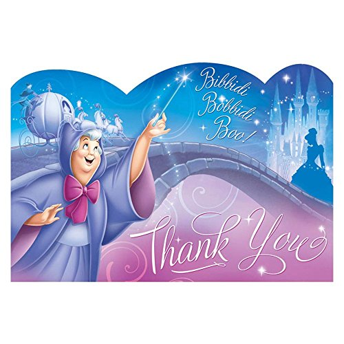 Cinderella Thank You Notes (8) Note Cards Princess Disney Birthday Party